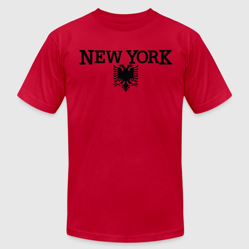 New York Albanian Flag T-Shirts - Men's T-Shirt by American Apparel
