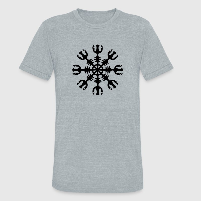 Aegishjalmur, Helm of awe, invincibility, runes,  T-Shirts - Unisex Tri-Blend T-Shirt by American Apparel