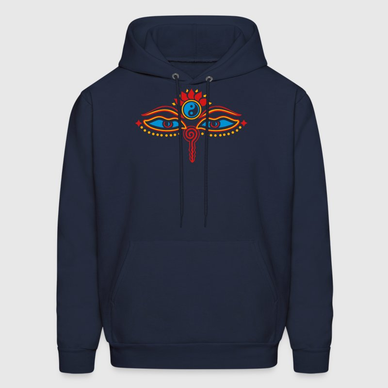 Buddha Eyes Lotus, Yin Yang, wisdom, enlightenment Hoodies - Men's Hoodie