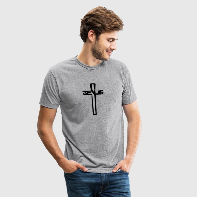 Jesus Word Cross Crucifix  T-Shirts - Unisex Tri-Blend T-Shirt by American Apparel