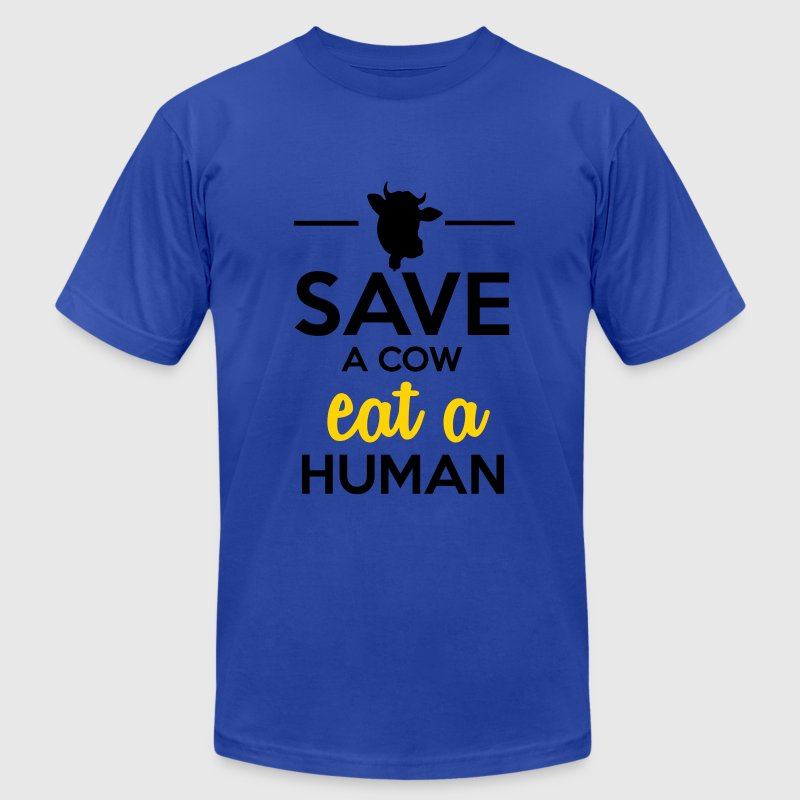 People & Pets - Save a cow eat a human T-Shirts - Men's Fine Jersey T-Shirt