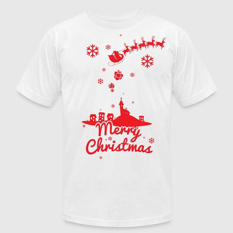 Merry christmas, a scene of a small village T-Shirts - Men's T-Shirt by American Apparel