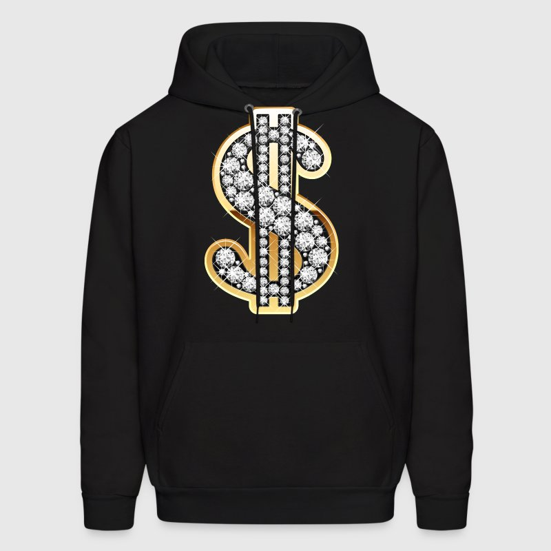 Golden Dollar Sign with Diamonds Hoodies - Men's Hoodie