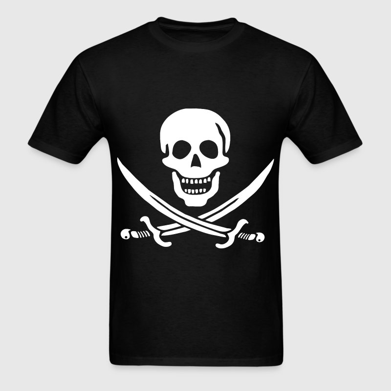 Jolly Roger Pirate Tee - Skull and Crossbones Pira - Men's T-Shirt