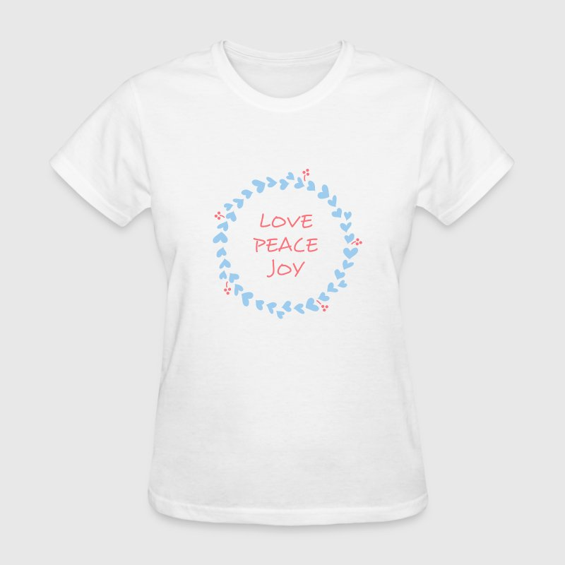 love peace joy Christmas Wreath with Hearts Women's T-Shirts - Women's T-Shirt