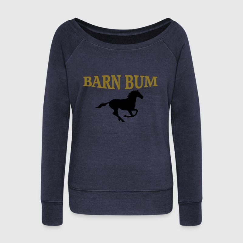 Barn Bum with horse  - Women's Wideneck Sweatshirt