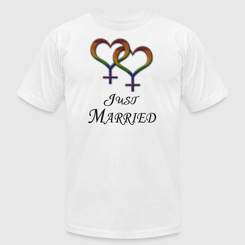 Just Married - Lesbian Pride - Marriage Equality T-Shirts - Men's Fine Jersey T-Shirt