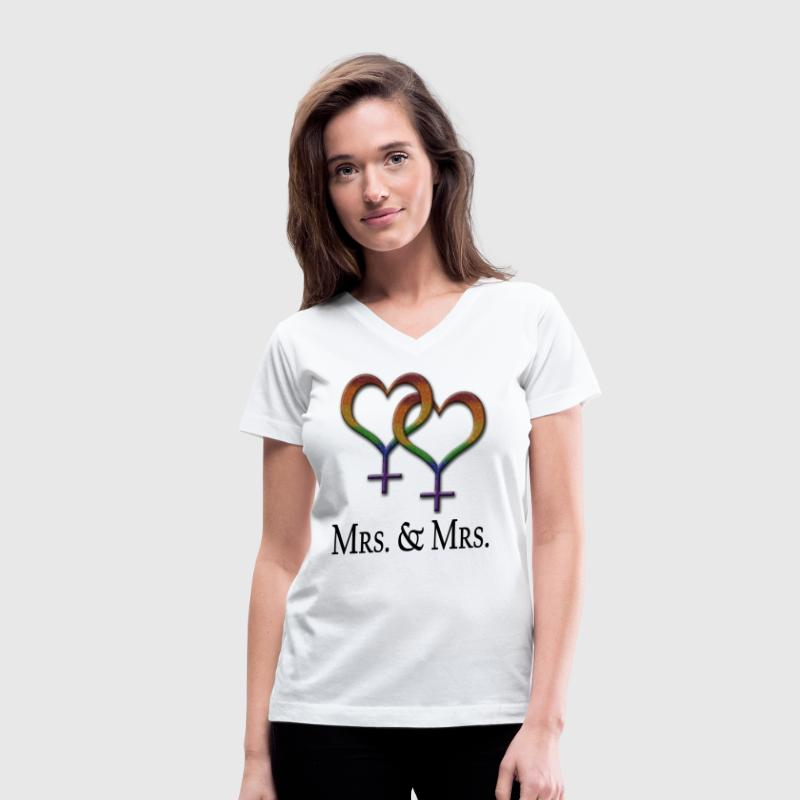Mrs. and Mrs. - Lesbian Pride - Marriage Equality  - Women's V-Neck T-Shirt
