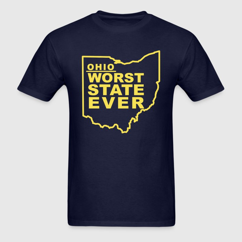 Ohio worst state ever t shirt spreadshirt for Ohio state t shirts for kids