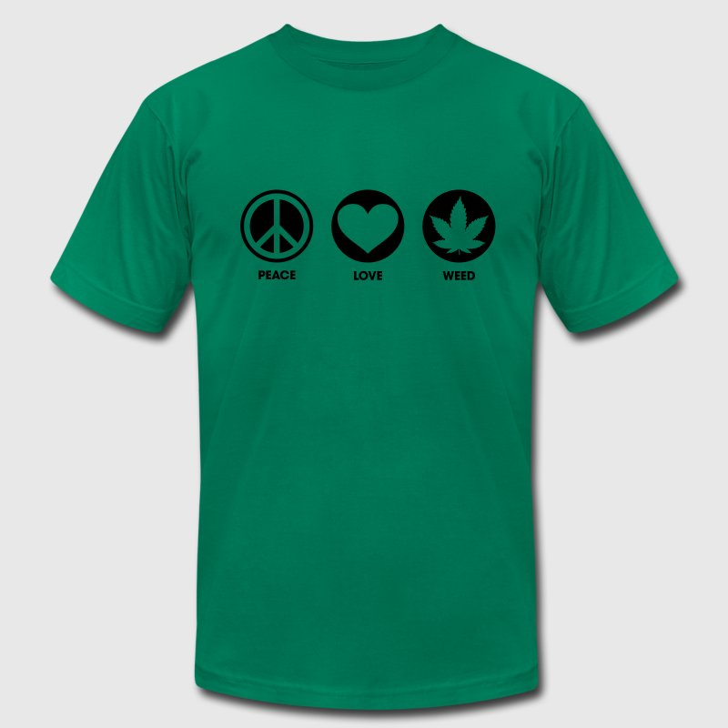 Peace Love Weed T-Shirts - Men's Fine Jersey T-Shirt