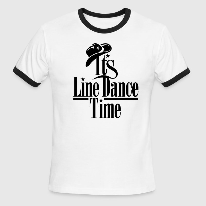 ITS LINE DANCE TIME, COWBOY HAT T-Shirts - Men's Ringer T-Shirt