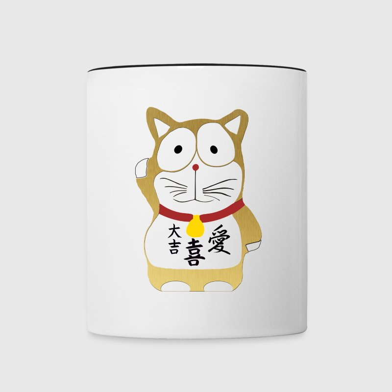 Maneki Neko Gold - Lucky Cat Accessories - Contrast Coffee Mug