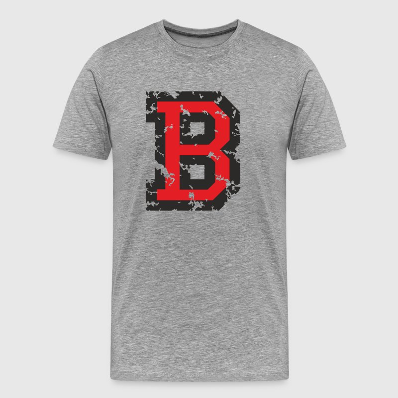 Letter B T-Shirt (Men Grey) Black/Red - Men's Premium T-Shirt