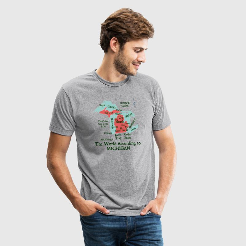 The World According To Michigan T-Shirts - Unisex Tri-Blend T-Shirt by American Apparel