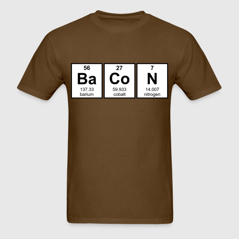 Periodic Table who came up with the periodic table of elements : Bacon Periodic Table Element Symbols T-Shirt | Spreadshirt