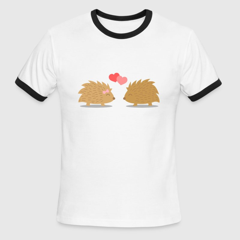 cute hedgehog couple in love T-Shirts - Men's Ringer T-Shirt