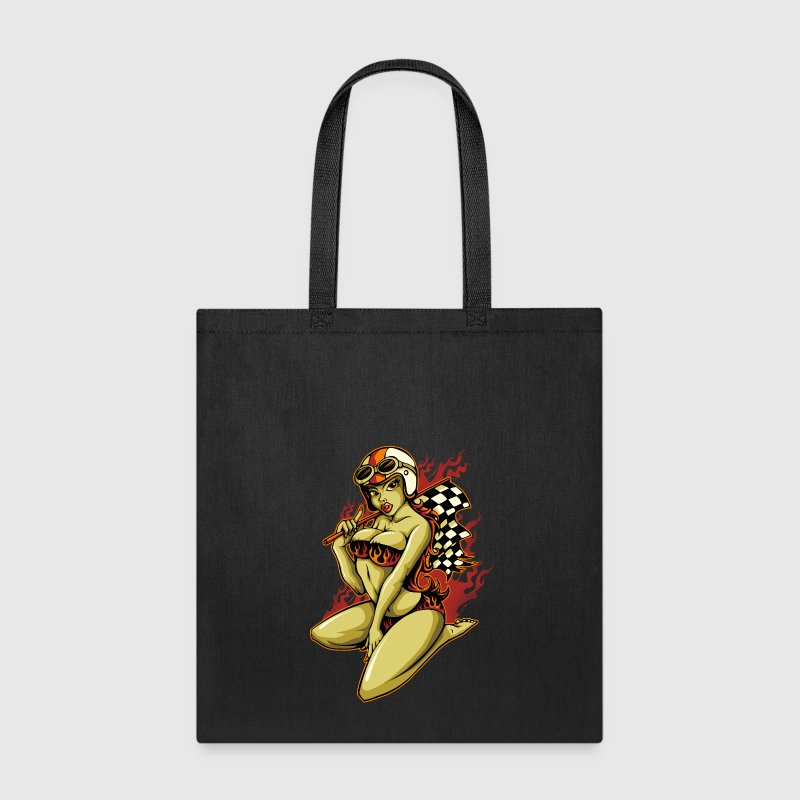 Hot Pin-Up Girl with Racing Flag Bags & backpacks - Tote Bag