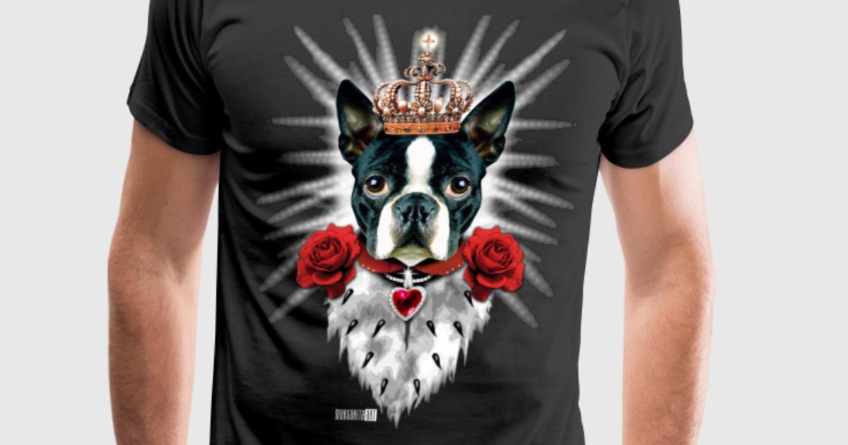 01 boston terrier king i love my dog dogs heart t shirt for Boston rescue 2 t shirt