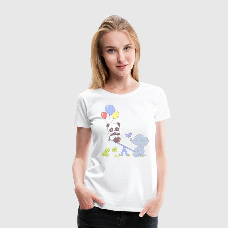 Panda and Elephant on Seesaw Women's T-Shirts - Women's Premium T-Shirt