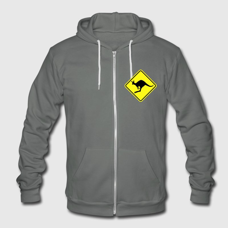 Kangaroo road sign australia Zip Hoodies & Jackets - Unisex Fleece Zip Hoodie by American Apparel