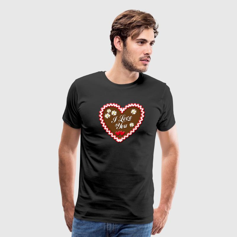 Lebkuchen I love You Gingerbread Edelweiss Heart - Men's Premium T-Shirt