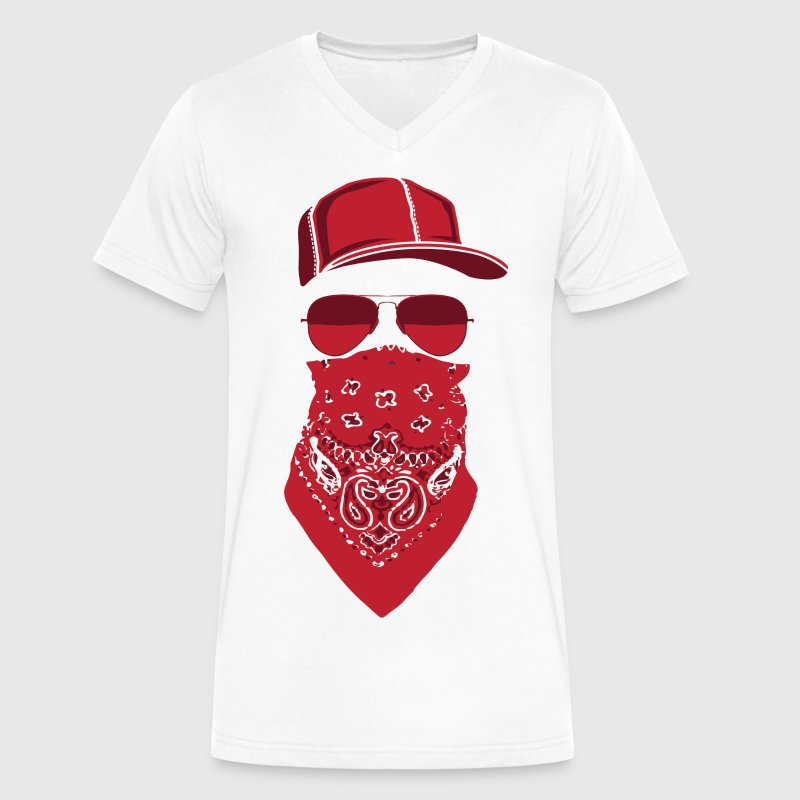 red blood gang member  T-Shirts - Men's V-Neck T-Shirt by Canvas