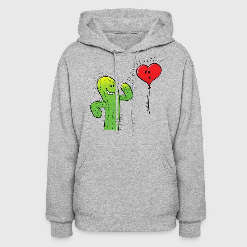 Cactus Flirting with a Heart Balloon Hoodies - Women's Hoodie