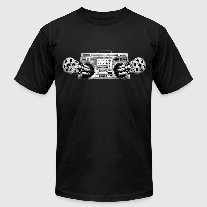 Boombox Gatling Gun T-Shirts - Men's T-Shirt by American Apparel