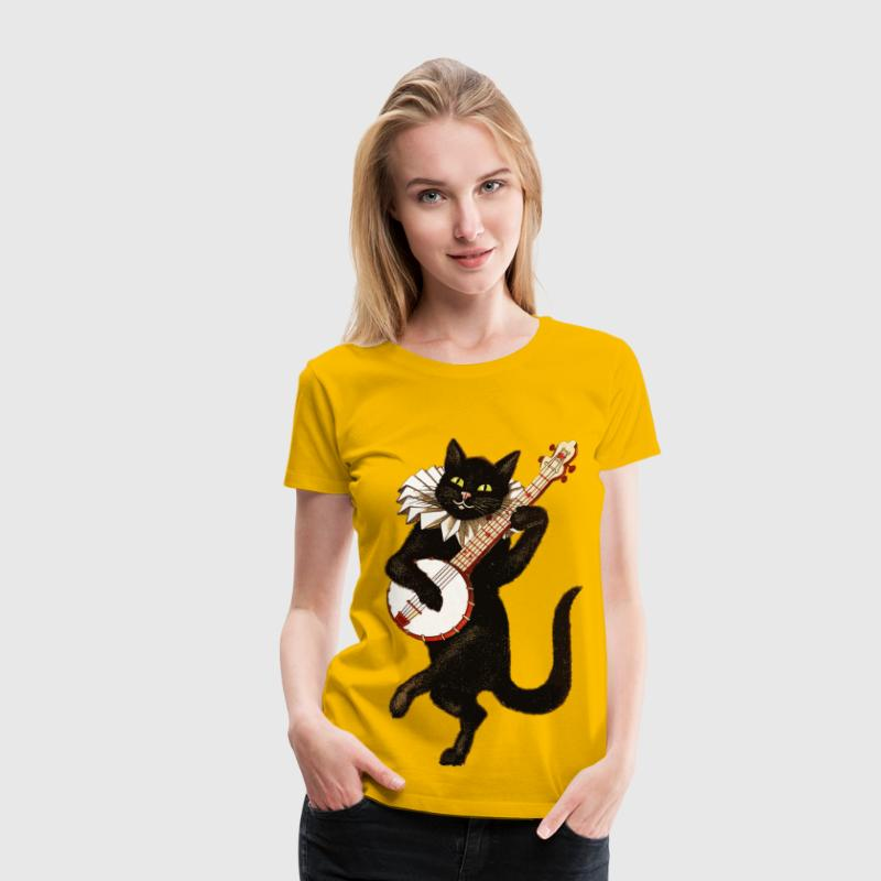 Vintage Cat Playing Banjo - Women's Premium T-Shirt
