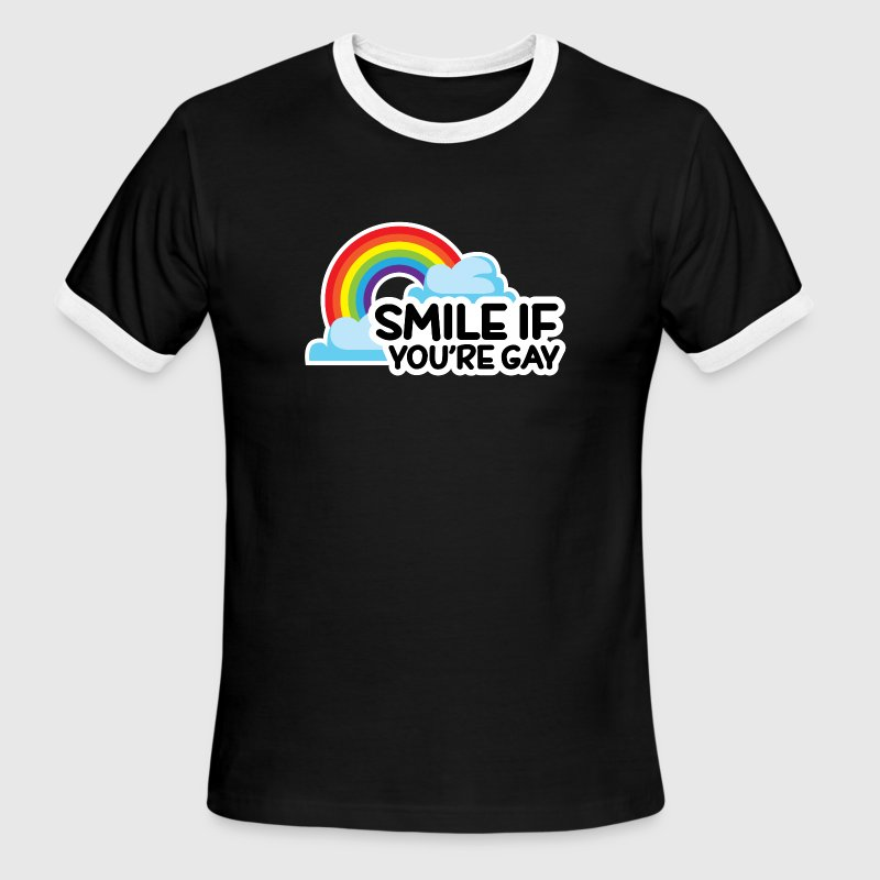 Smile If You're Gay LGBT Pride T-Shirts - Men's Ringer T-Shirt