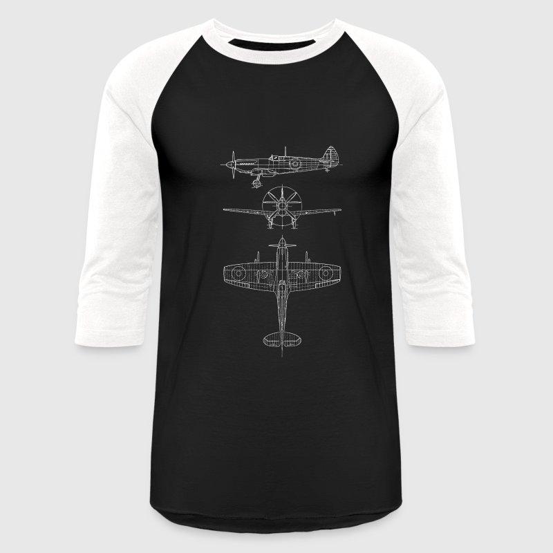 Spitfire airplane blueprint mens baseball t shirt spreadshirt spitfire airplane blueprint t shirts baseball t shirt malvernweather Image collections