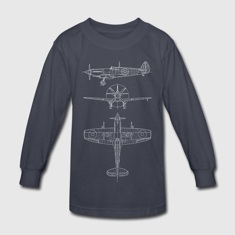 Spitfire airplane blueprint Kids' Shirts - Kids' Long Sleeve T-Shirt