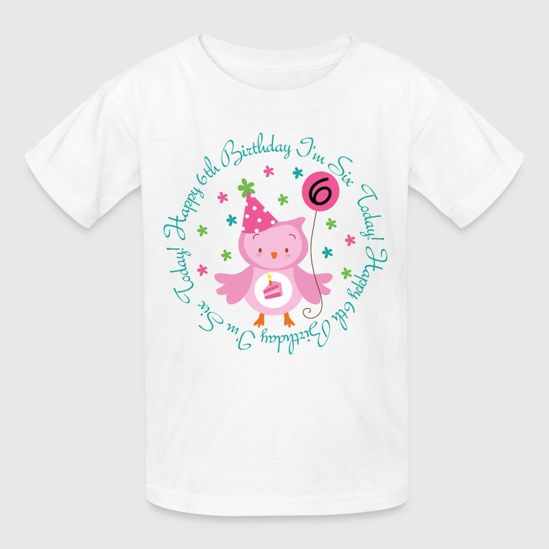 6th Birthday Girl's Owl Kids' Shirts - Kids' T-Shirt