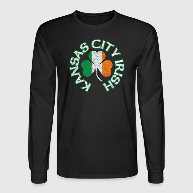 Kansas City Irish Shamrock Flag Apparel Long Sleeve Shirts - Men's Long Sleeve T-Shirt