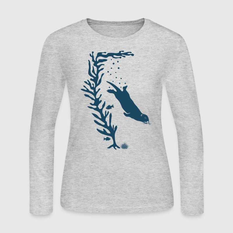 sea otter kelp forest california marine ocean Long Sleeve Shirts - Women's Long Sleeve Jersey T-Shirt