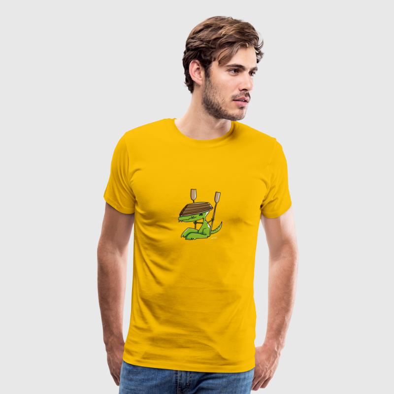 Funny dinosaur with a rowing boat T-Shirts - Men's Premium T-Shirt