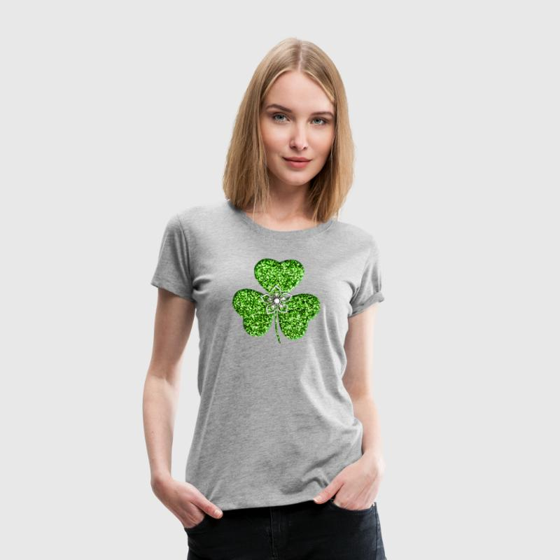 Glitter Shamrock And Flower T-Shirt | Spreadshirt