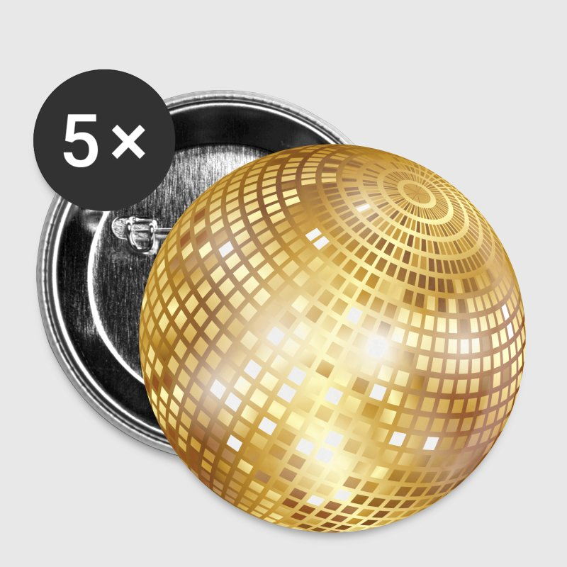 Disco Ball / Mirror Ball (Gold, PNG) Button - Small Buttons