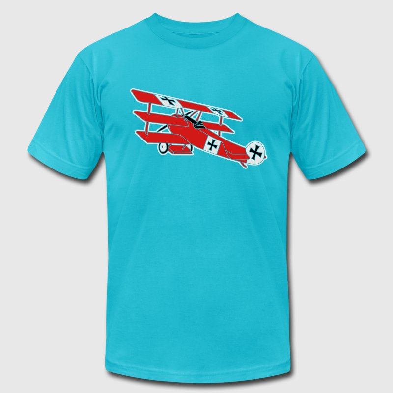 airplane first world war red baron fokker roter T-Shirts - Men's T-Shirt by American Apparel