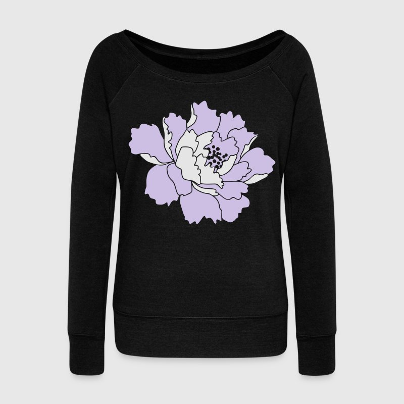 Peony Flower Vector Long Sleeve Shirts - Women's Wideneck Sweatshirt