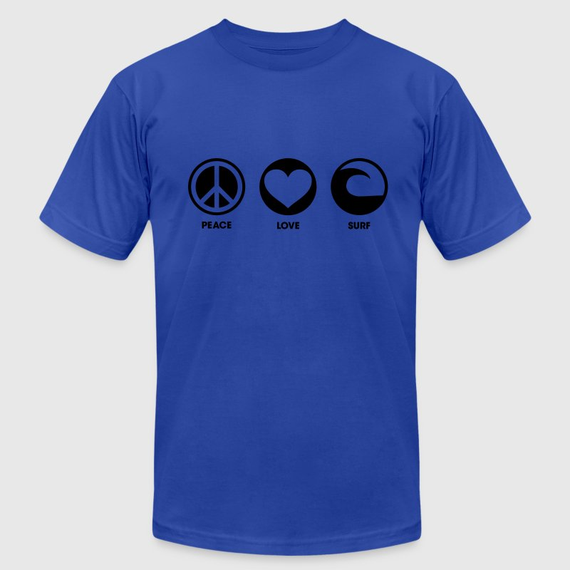 Peace Love Surf T-Shirts - Men's T-Shirt by American Apparel