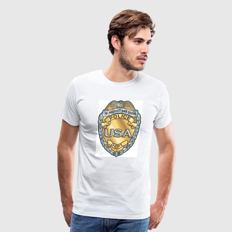 White Police Badge Men - Men's Premium T-Shirt