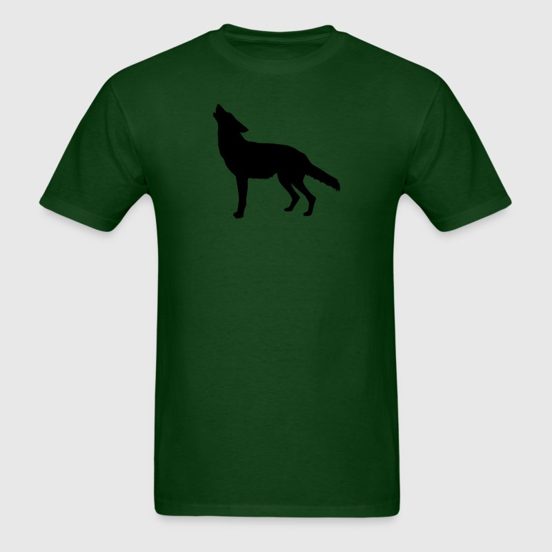Forest green coyote howling T-Shirts (Short sleeve) - Men's T-Shirt