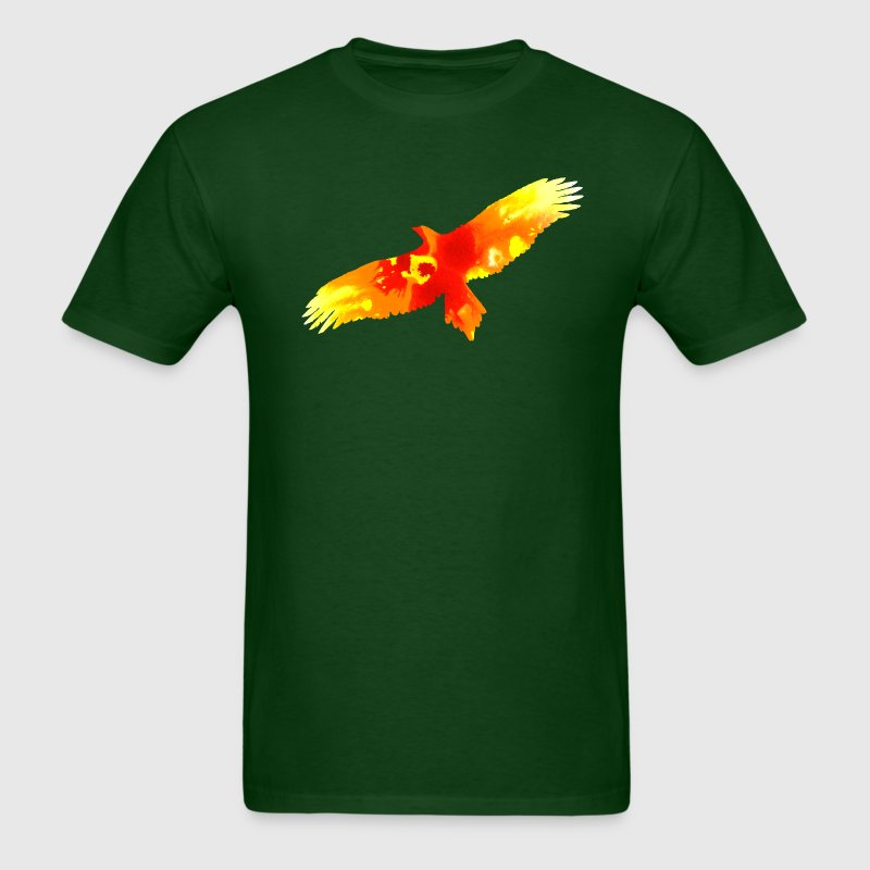 Forest green firebird watercolor fire painting T-Shirts - Men's T-Shirt