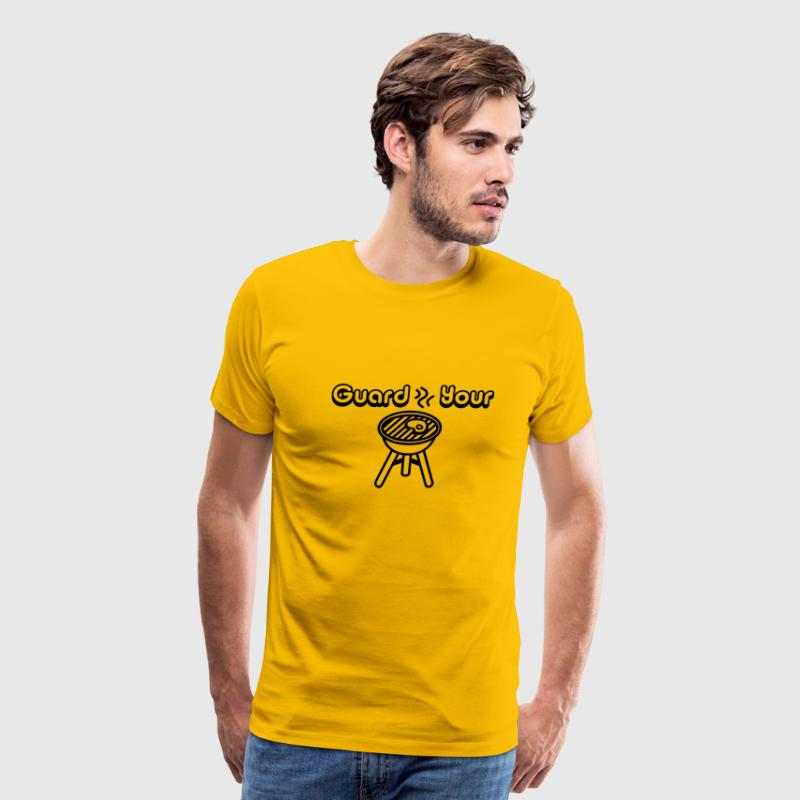 Yellow Guard Your Grill, Grilling Graphic T-Shirts - Men's Premium T-Shirt