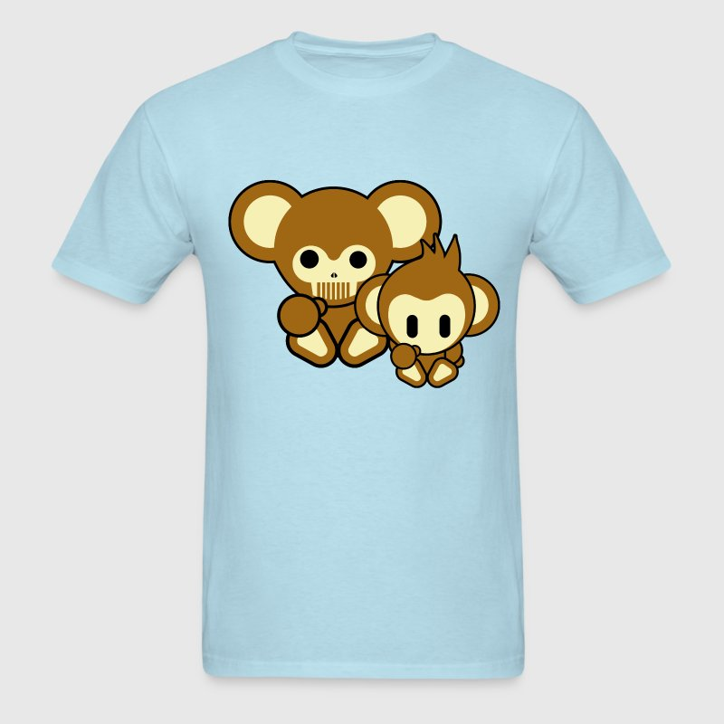 Sky blue Bear and Monkey T-Shirts - Men's T-Shirt