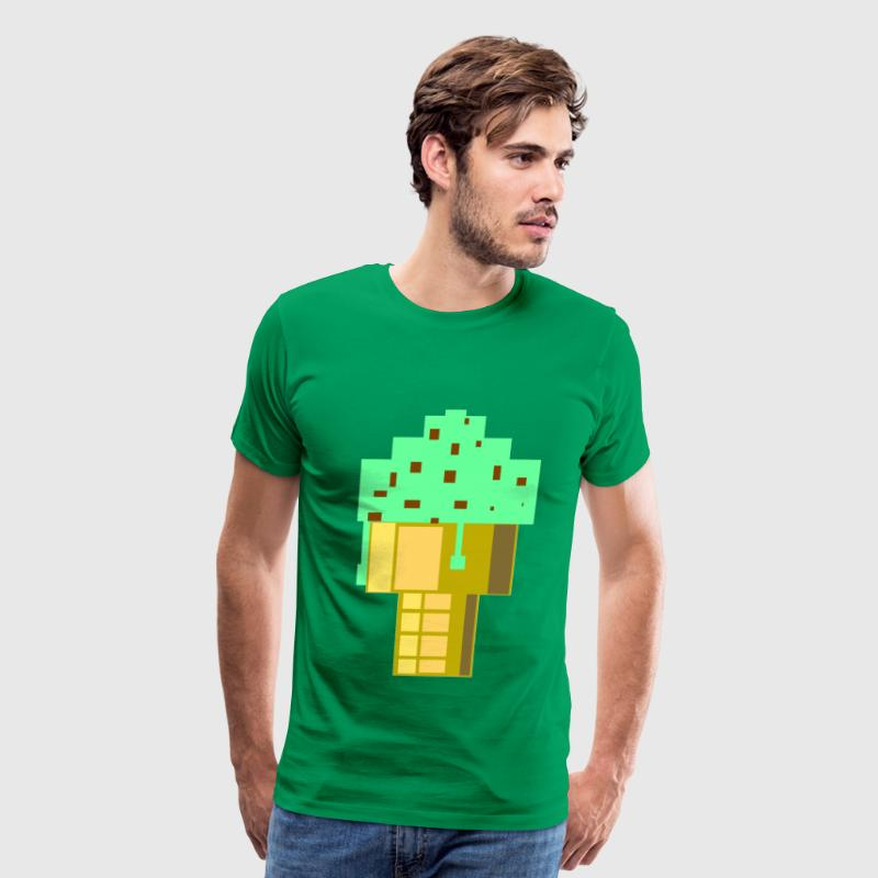 Bright green Mint Choc Chip Ice Cream Large T-Shirts - Men's Premium T-Shirt