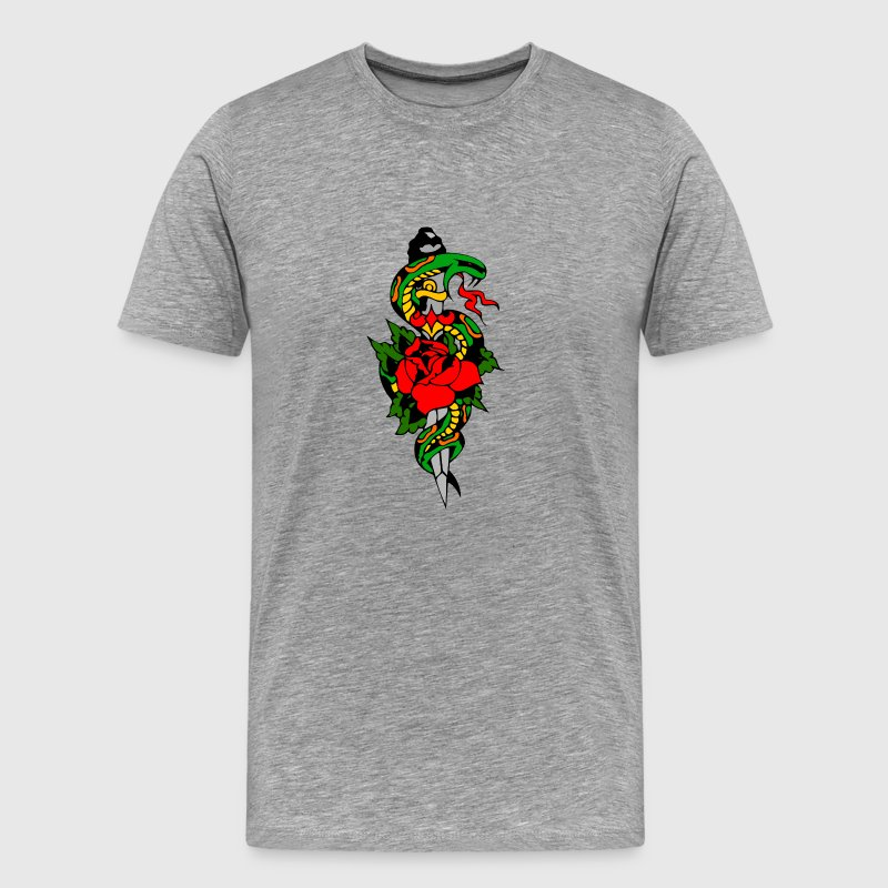 Heather grey snake and dagger T-Shirts - Men's Premium T-Shirt