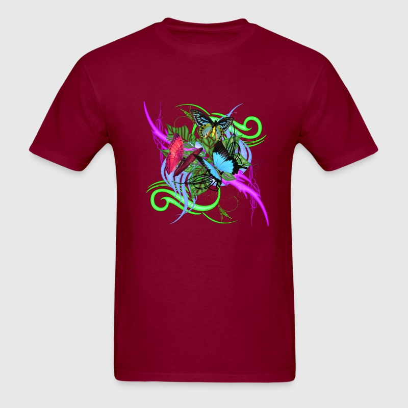 Burgundy Abstract Butterflies T-Shirts - Men's T-Shirt