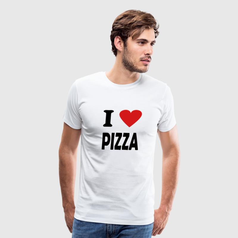 White i love pizza T-Shirts - Men's Premium T-Shirt